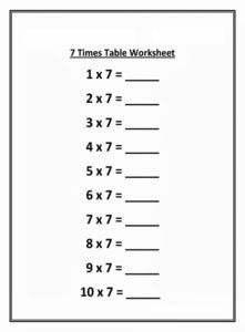 Blank Multiplication Table 7 Charts