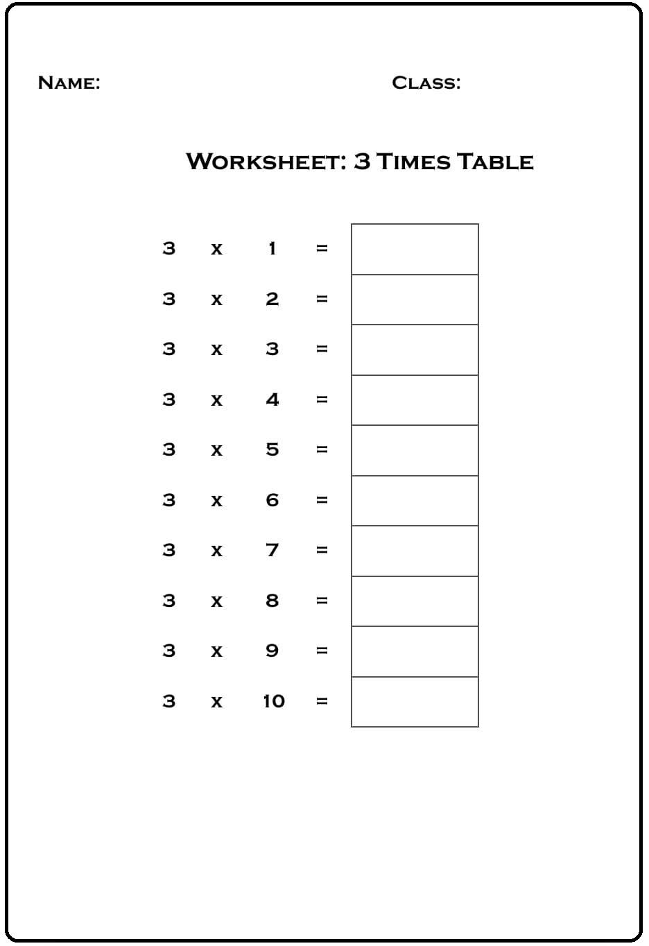 Blank Multiplication Table 3 Chart