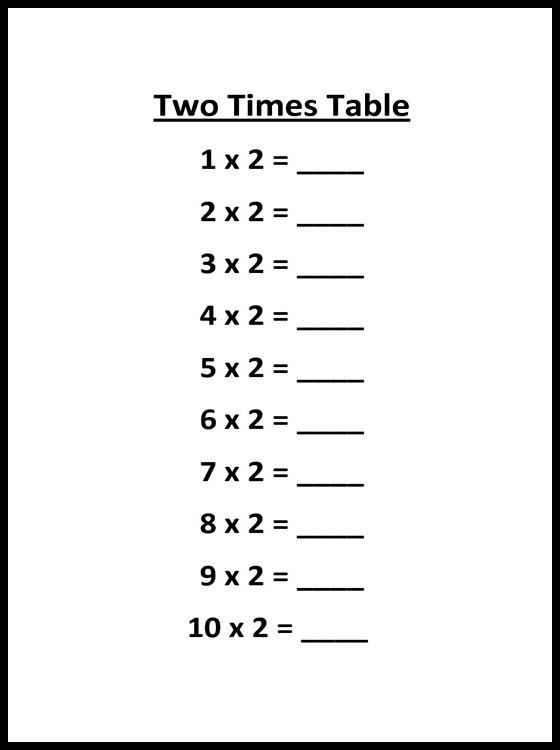 2 Multiplication Table Printable Charts