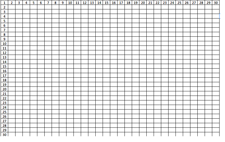 Multiplication Tables from 1 to 30 Worksheet