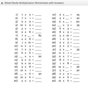 Blank Multiplication Tables from 1 to 30