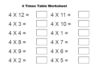 4 Times Table Worksheet