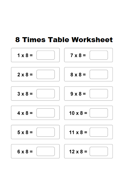 8 Times Multiplication Table Worksheet