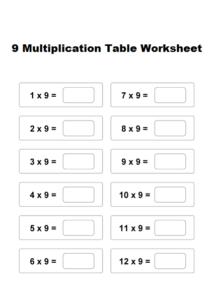 9 Multiplication Table Worksheet