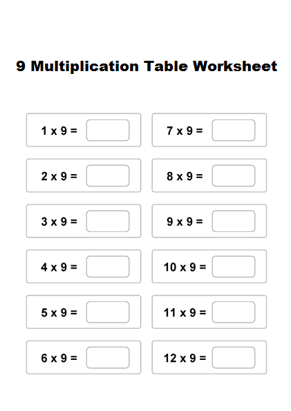 9 Multiplication Table Worksheet
