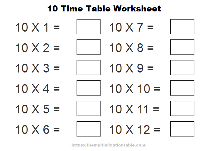 10 Time Table Worksheet