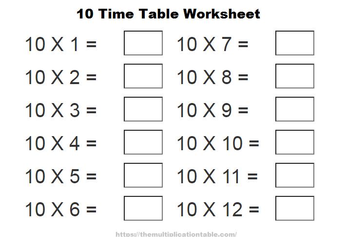 10 Time Table Worksheet