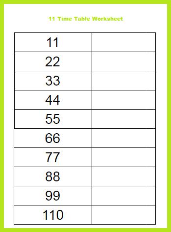 11 Time Table Worksheet