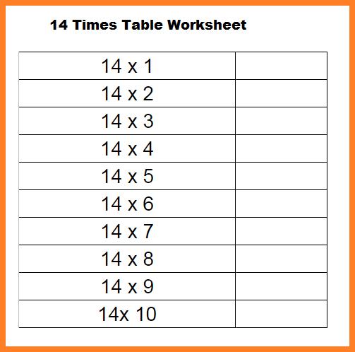 14 Multiplication Table Worksheet
