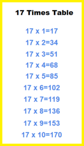 17 Times Table Sheet
