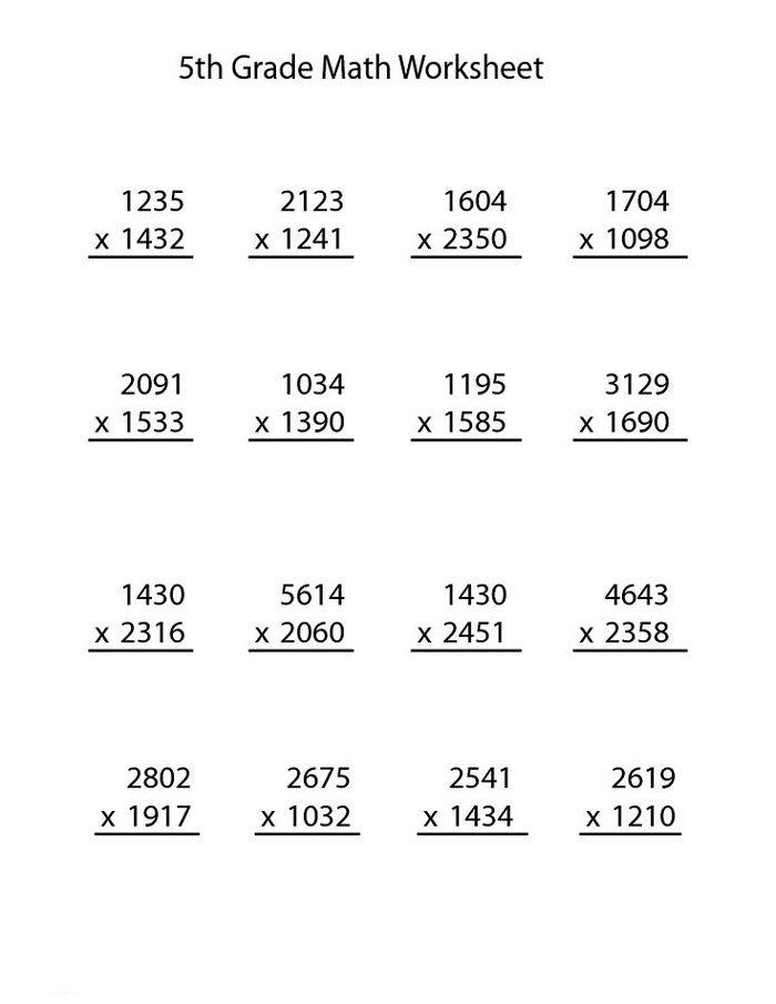 Multiplication Worksheets for Grade 5