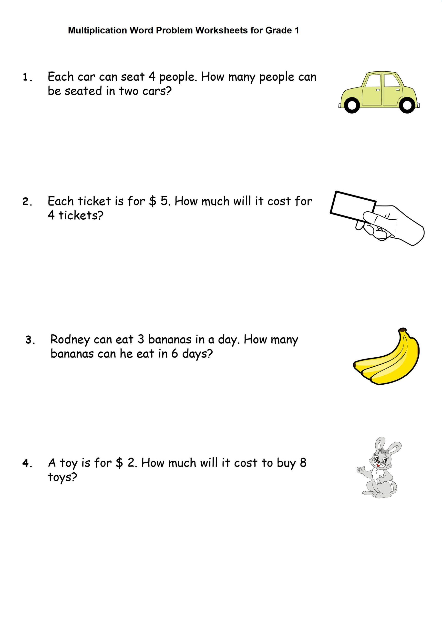 Multiplication Word Problem Worksheets for Grade 1